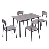 40e15c0ca1b20e HOMCOM - Table de salle à manger avec 4 chaises style industriel acier noir  MDF coloris