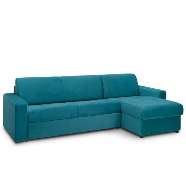 Inside 75 Canapé d'angle convertible Night Edition Velours rapido couchage 140 cm bleu paon