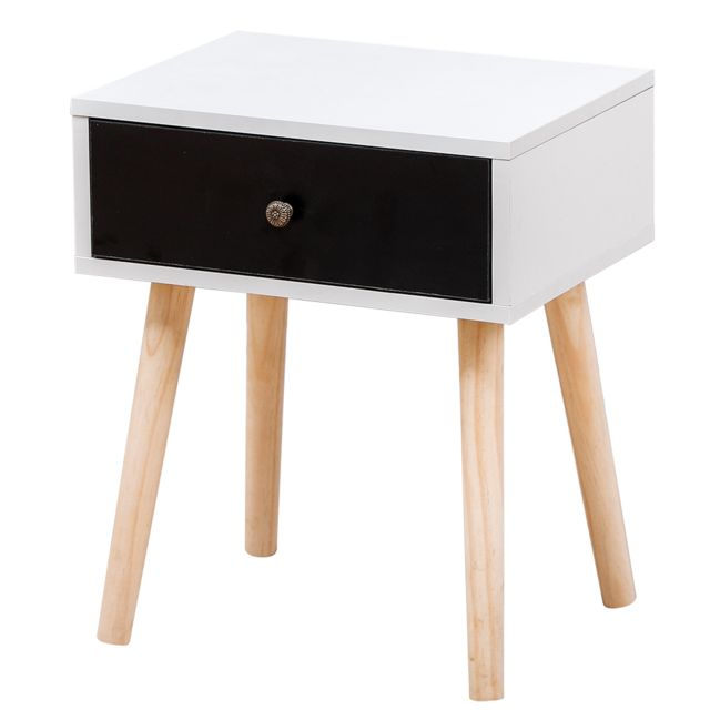 Ltppstore Table de chevet scandinave blanc clair laqué satiné 40 30 50CM