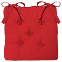 Atmosphera - Galette de chaise 5 Boutons - 40 x 40 cm - Rouge