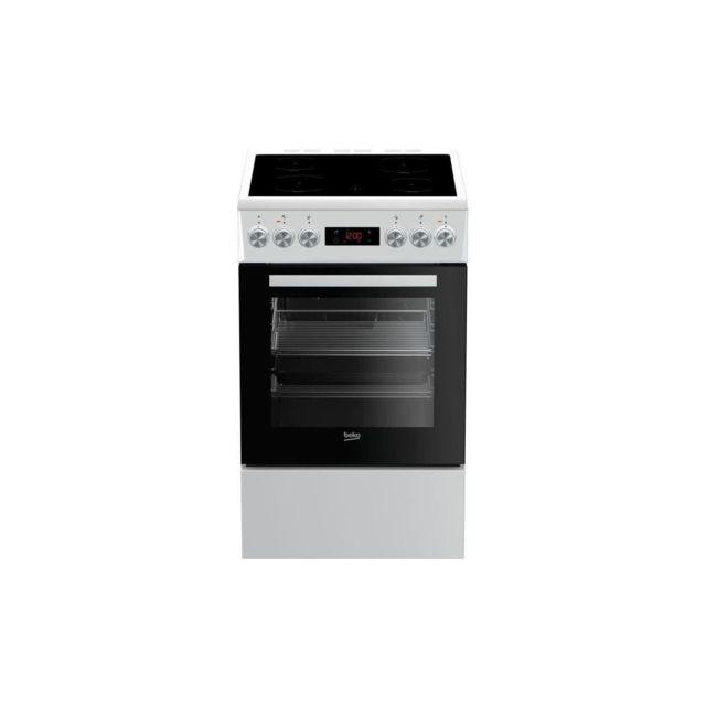 Beko Fuv55b - Cuisiniere Pose Libre - 4 Foyers Vitroceramiques - Four Convection - 65 L - L 50 X H 85 Cm - Blanc