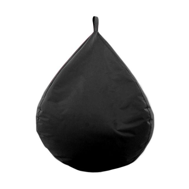 Mon Beau Tapis - Pouf poire géante noir intérieur extérieur 90x92cm Big Mama