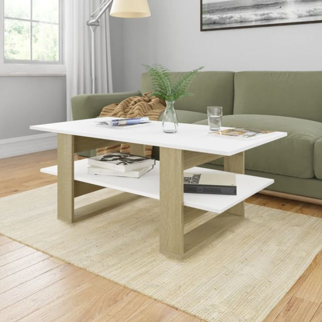 Vidaxl Table Basse Blanc et Chêne Sonoma Aggloméré Table d'Appoint Salon