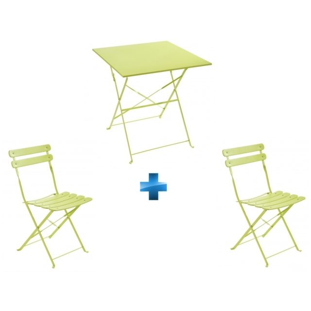 CARREFOUR - Ensemble Table Bistrot carrée pliante + 2 Chaises ...