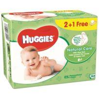 Huggies - Lingettes Natural Care enrichies Aloe Vera 2+1 Gratuite -3x56