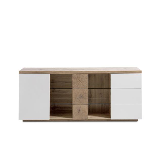 Pegane Commode décor chêne coloris laqué blanc mat - L180 x H75 x P40 cm
