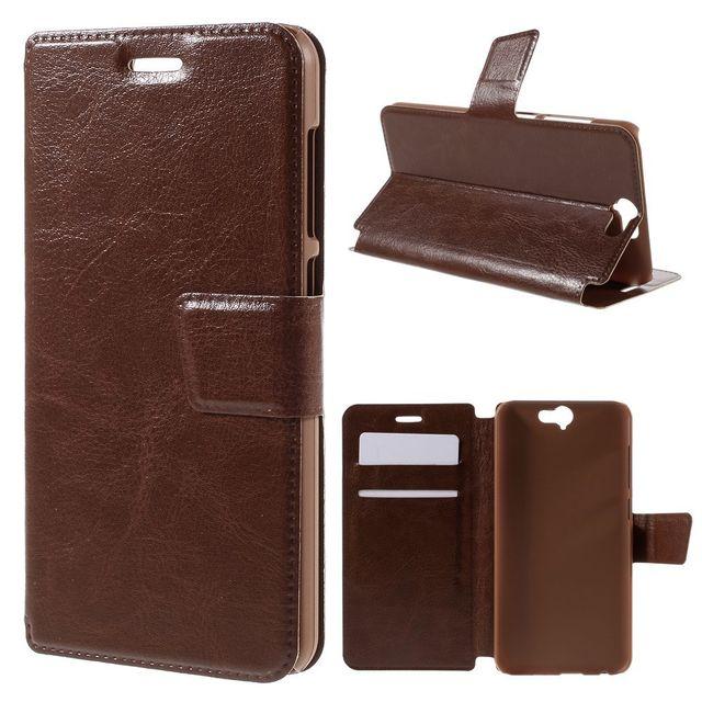 Kabiloo etui portefeuille marron pour htc one a9 avec rabat latéral articulé fonction stand