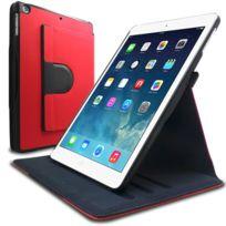 Caseink - Coque Etui Stand iPad air Folio Rotative 360 degrés texture Jean Club Rouge