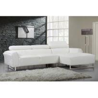 Canape cuir blanc droit pieds chrome Bient´t les Soldes Canape