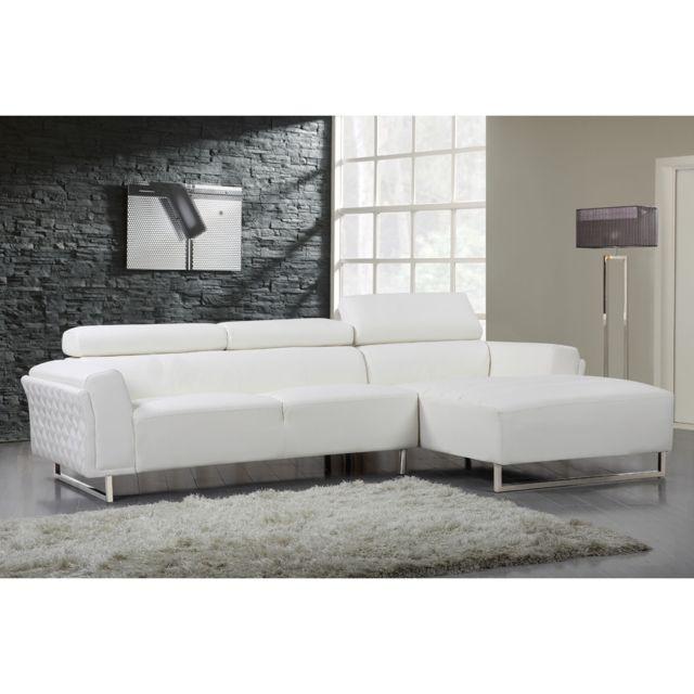 HABITAT ET JARDIN Canapé d'angle cuir reconstitué/PVC Broadway - 4 places - Blanc - Angle droit