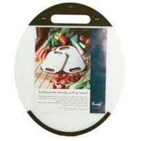 Hl - H L - H L Russel Ltd Planche à découper antibactérienne avec poignée Ovale Polyéthylène Anti-glisse Blanc/noir 33 cm x 27,5 cm x 1 cm Import Grande Bretagne