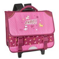 CHIPIE - Cartable à roulettes rose - 3 Compartiments - L 38cm