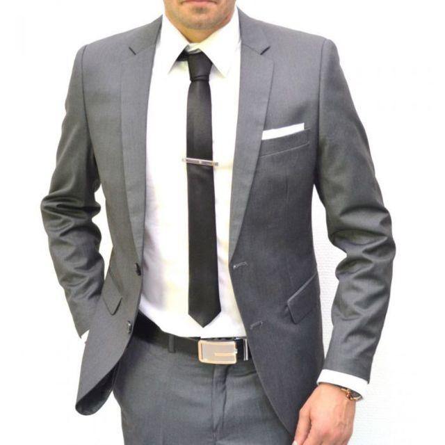 ef4e6602fa97 Prestige Man - Costume homme gris cintré 2 boutons - pas cher Achat ...