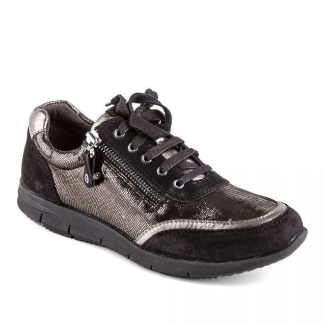 ... Caprice - Chaussures baskets cuir noir métallique onAir femme Caprice  ... e01fd1d3f298