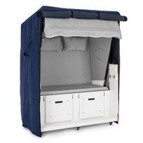 BLUMFELDT - Set Abri plage cabine chaise longue 2 places housse/roulettes - gris