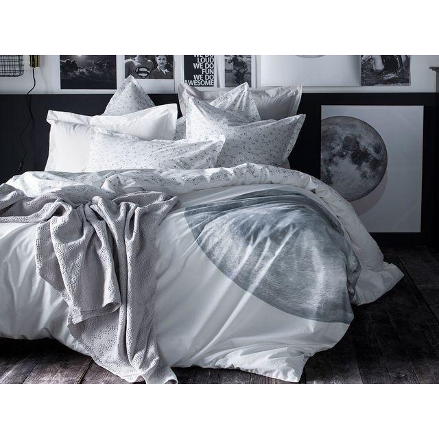 Essix Housse De Couette 100 Percale De Coton Motif Lune Et étoile