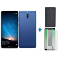 HUAWEI - Mate 10 Lite Bleu + Flip Stand Mate 10 Lite - Noir + Verre trempe Mate 10 Lite - Transparent