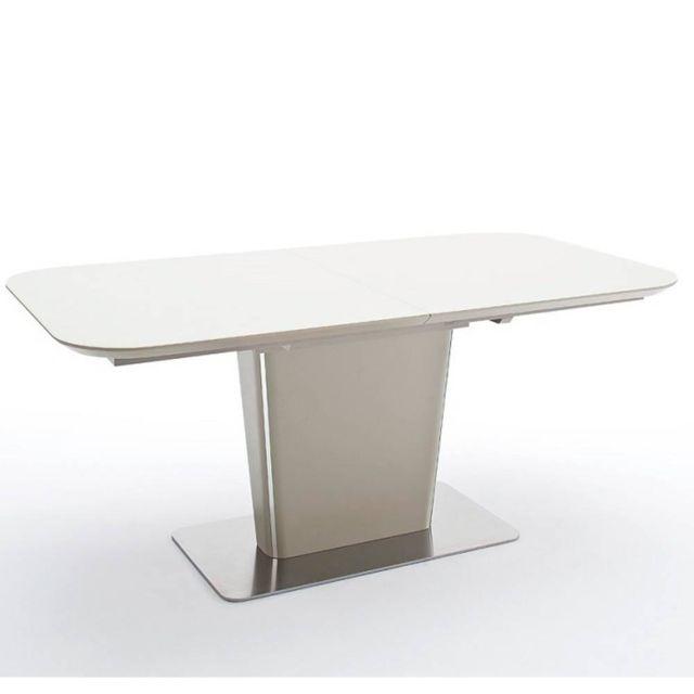 Inside 75 Table repas extensible design Uma taupe laqué mat 140 x 85 cm