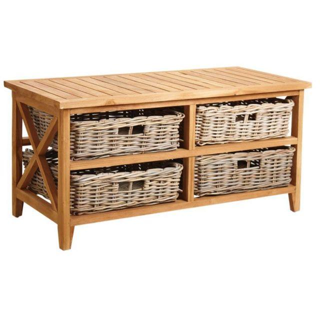 AUBRY GASPARD Table basse en teck avec 4 tiroirs