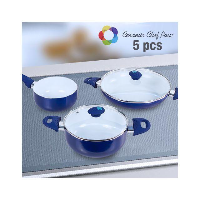 Appetitissime - Batterie de Cuisine Ceramic Chef Pan 5 pièces, Couleur Rouge