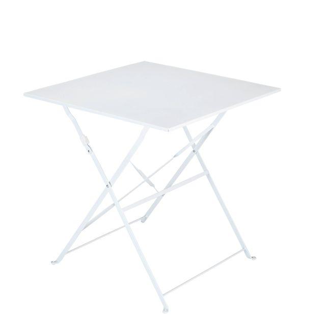 CARREFOUR - BALCON - Table carrée bistrot pliante blanc ...