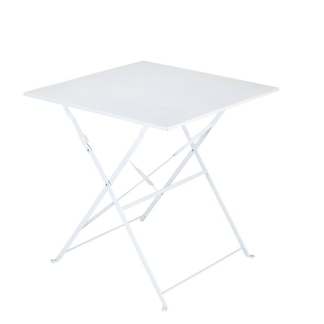 carrefour balcon table carr e bistrot pliante blanc fse104t 70x70 pas cher achat vente. Black Bedroom Furniture Sets. Home Design Ideas