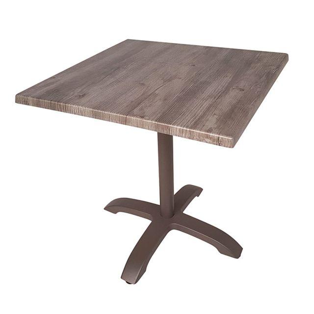 gecko jardin table pliante carre en alu aspect chne 70 x 70 cm oglio marron - Table Pliante De Jardin