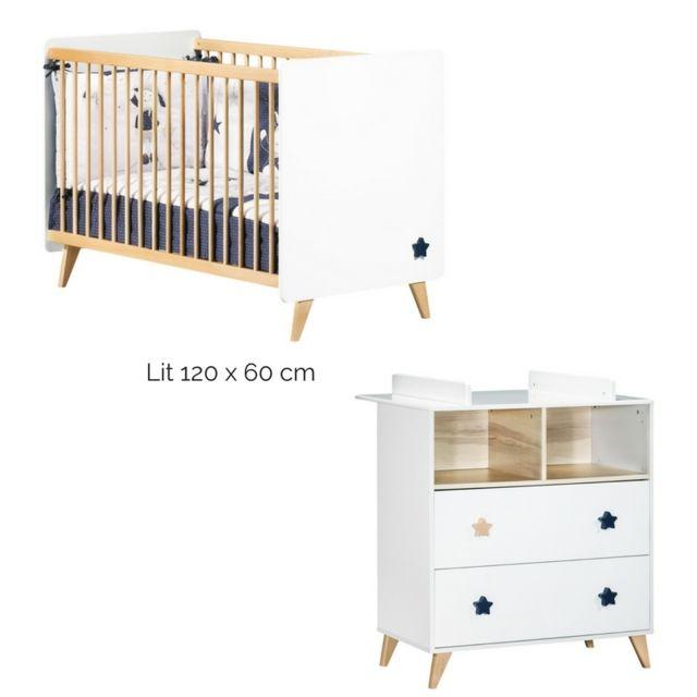 Sauthon - Chambre lit bébé 60 x 120 + commode + plan à langer Oslo ...