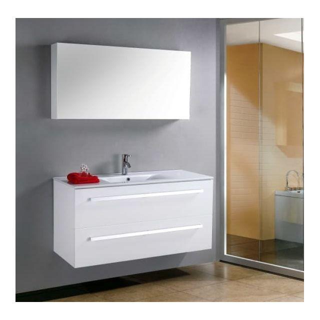 Megeve - Grand meuble simple vasque de salle de bain contemporain