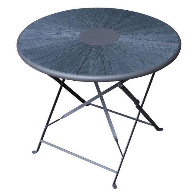 Alinéa - Veines Table de jardin pliante en acier et bois composite 2 ...