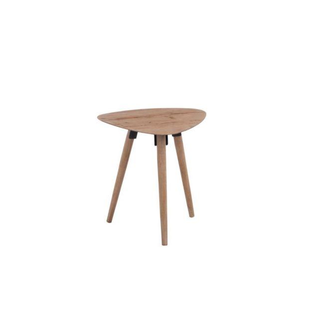 Design And Vintage Table gigogne triangle en métal et bois naturel
