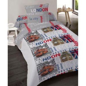 dourev couette imprim e 140x200 london pas cher achat vente couettes rueducommerce. Black Bedroom Furniture Sets. Home Design Ideas