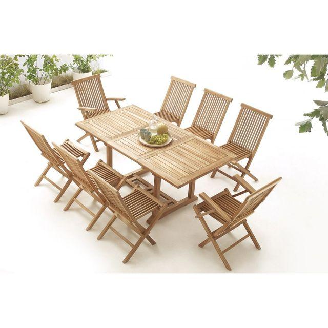 Bobochic Table rectangle 6 chaises + 2 fauteuils Teck Brut Massif