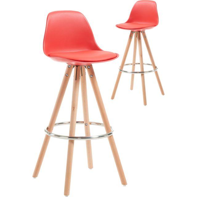 6c5810fe51345d COMFORIUM - Lot de 2 tabourets rouge en polypropylène avec siège rembourré  en polyester et pieds
