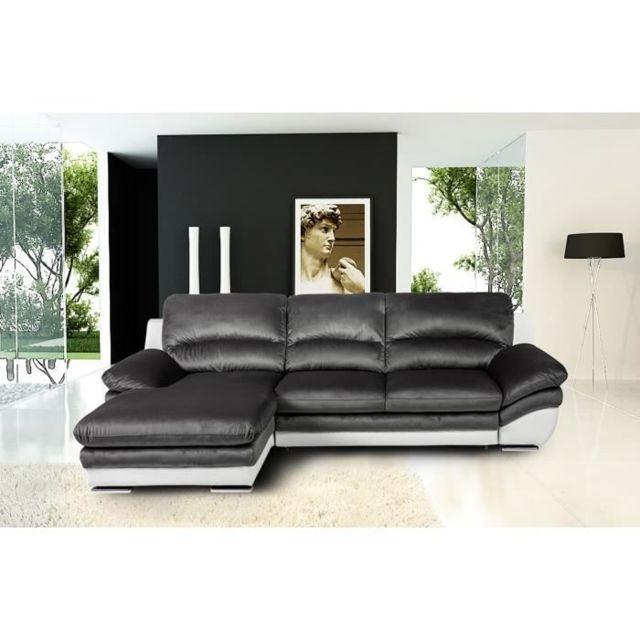 CANAPE - SOFA - DIVAN PIXEL Canapé d'Angle gauche Convertible - Simili et tissu blanc et anthracite - L 265 x P 170 x H