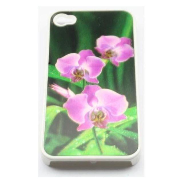 coque iphone 4 4s fleur violette 3d