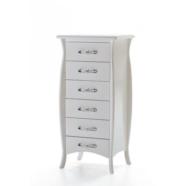 Ma Maison Mes Tendances Chiffonnier 6 tiroirs en bois laqué blanc Ida - L 60 x l 40 x H 125