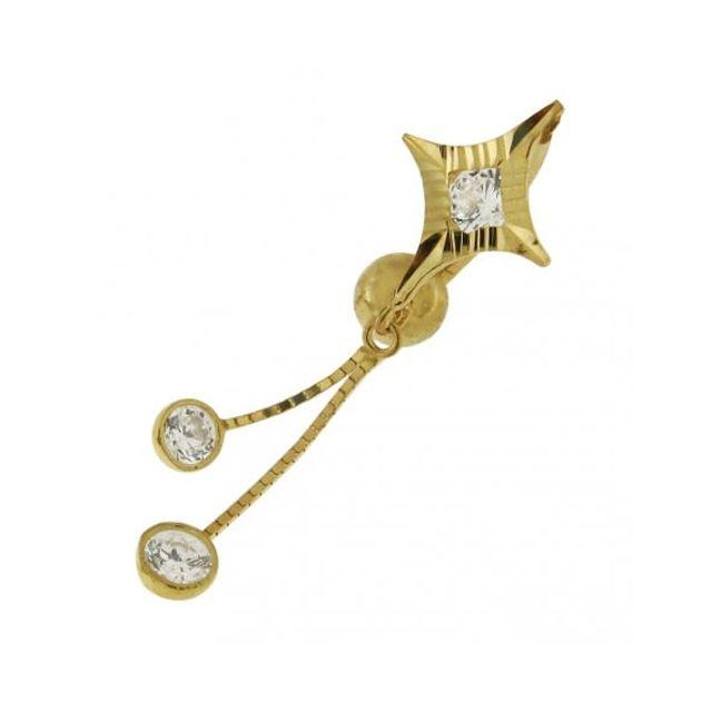 Sans Marque Bijou Pierre Précieuse Piercing De Nombril en Or 14 Jaune carats creux Zircons Sertis Pendants