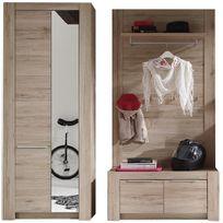 Comforium - Armoire à 2 portes + porte manteau mural coloris chêne san remo