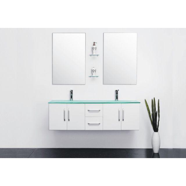 Stunning meuble double vasque 100 cm contemporary design for Meuble vasque 110