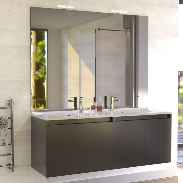 creazur meuble salle de bain double vasque proline 140 gris brillant coloris fa ade pas. Black Bedroom Furniture Sets. Home Design Ideas
