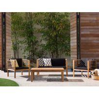 Beliani - Ensemble de jardin - Table chaises et banc- Acacia - Marron - Pacific