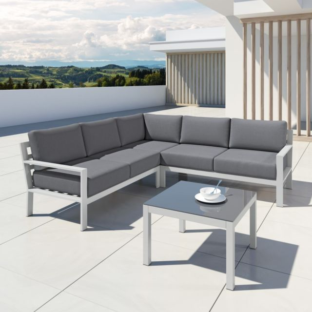 Avril Paris - Mio - Salon de jardin design aluminium - Blanc Gris ...