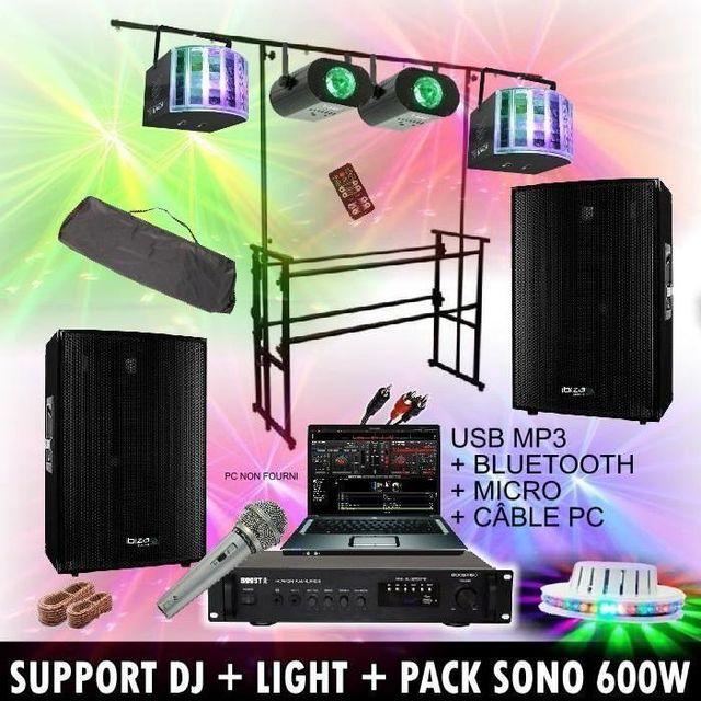 Ibiza Light 5 jeux de lumiere + support dj + ampli + enceinte + cables / pa dj led sono sport
