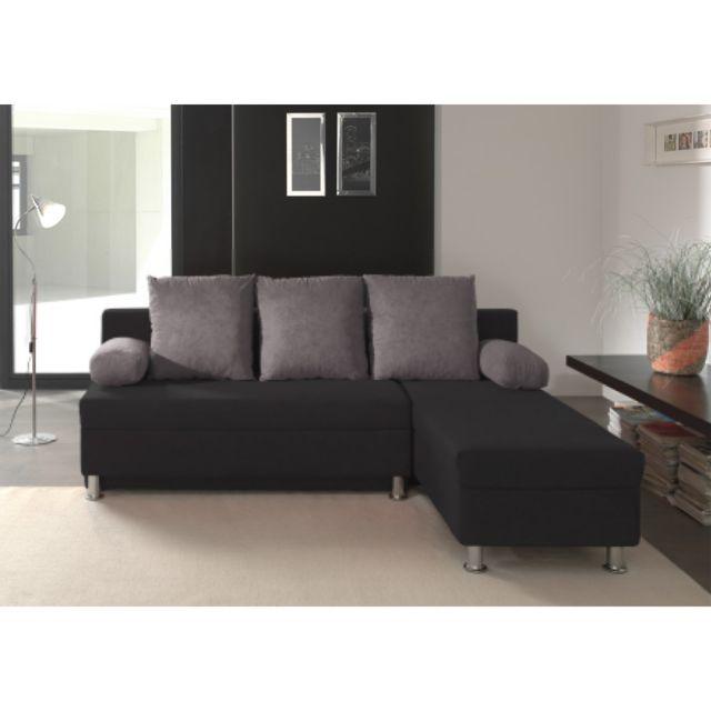 Rocambolesk Canapé d'angle convertible noir-grisPolo
