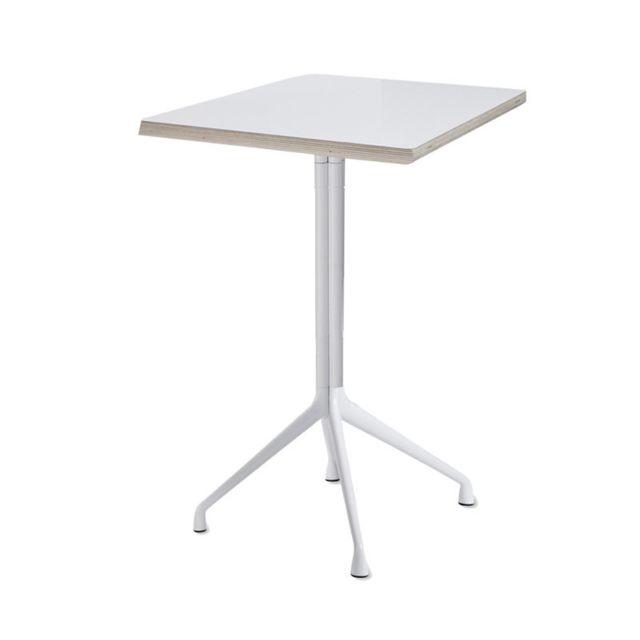 Hay About A Table Aat15 - Table haute - stratifié blanc, bordure contreplaqué