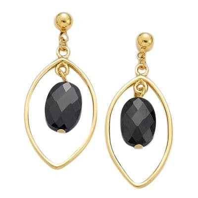 Sochicbijoux so chic bijoux © boucles doreilles goutte oxyde de zirconium noir plaqué or 750