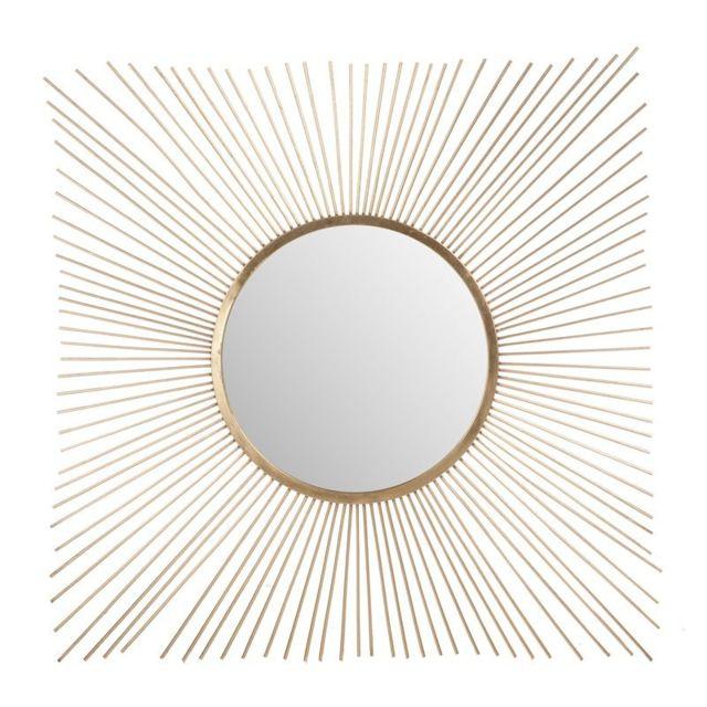 Tousmesmeubles Miroir rayons soleil Métal or - Grian
