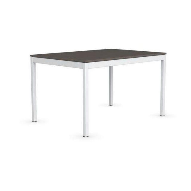Inside 75 Table extensible Snap multistripe terre piétement laqué blanc 130x90 cm