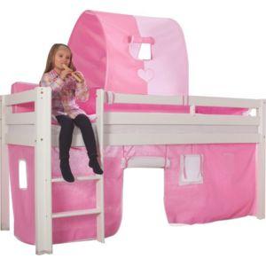 soldes comforium lit mezzanine 90x200 fille avec 1 tunnel de jeu coloris rose blanc nc pas. Black Bedroom Furniture Sets. Home Design Ideas